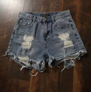 Pants - High Waisted Light Wash Jean Shorts